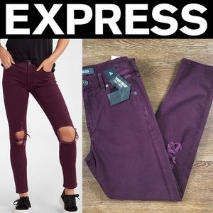 Express Pants - Express High Waisted Ripped Stretch Vintage Skinny